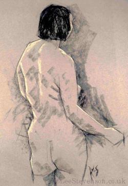 Charcoal life-study of woman standing