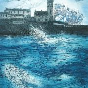 Etching and aquatint of Porthleven harbour with stormy sea