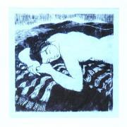 woodcut of a girl asleep