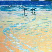 lino/woodcut of surfers on a Cornish beach