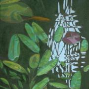 Goldfish pond oil painting