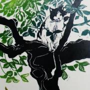 cat in tree linocut