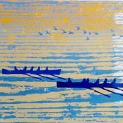 Two pilot gigs racing at sunset, linocut